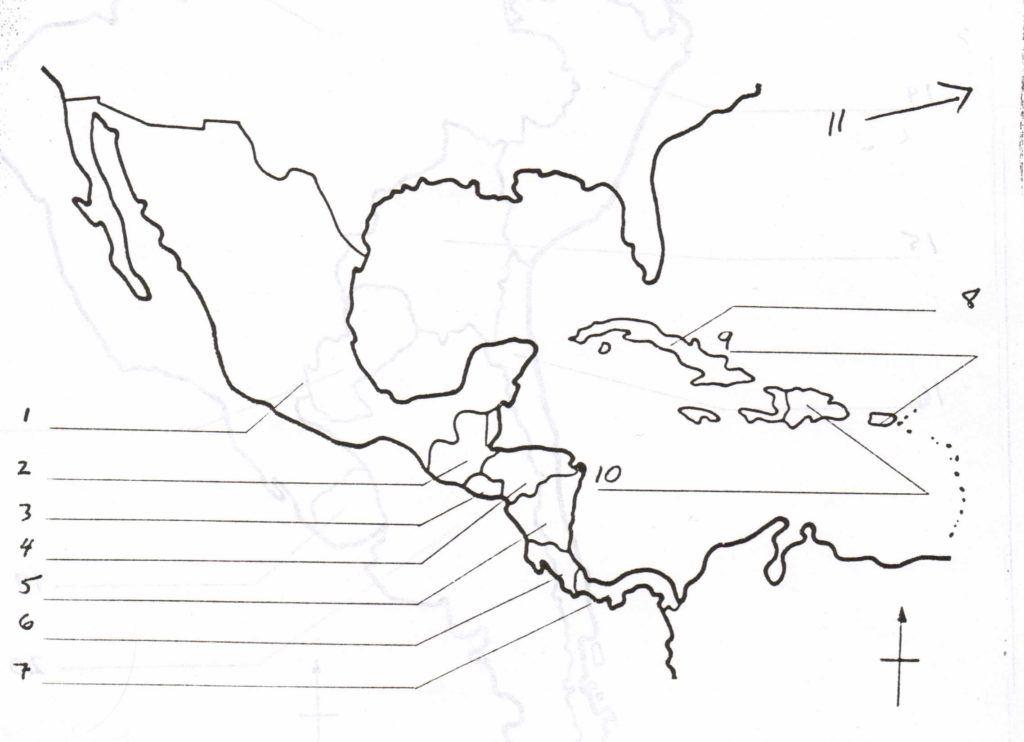 Blank map of Central America