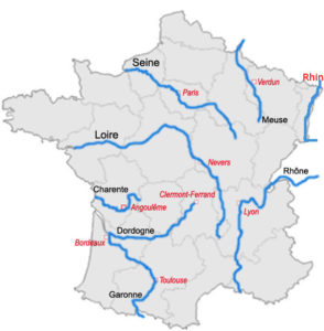 Map of France with Rivers