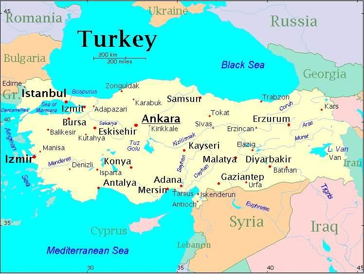 Map of Turkey with Istanbul City