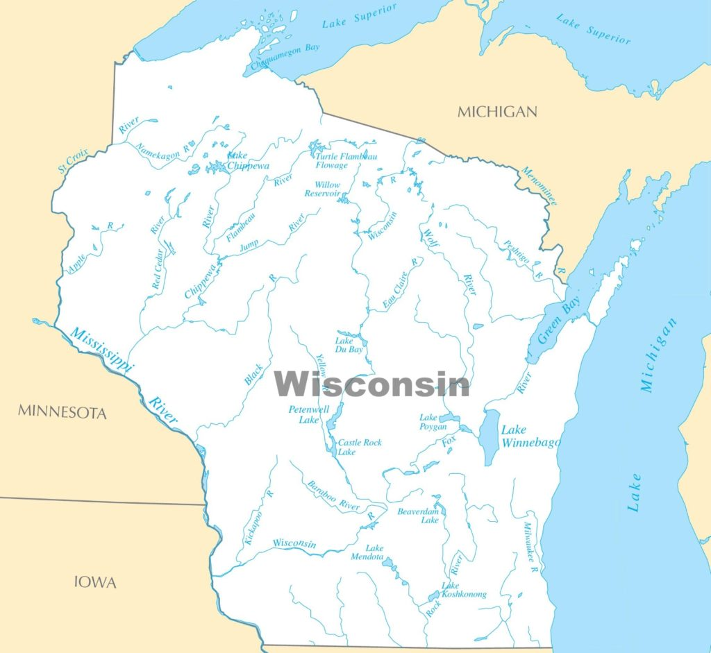 Map of Wisconsin Lakes