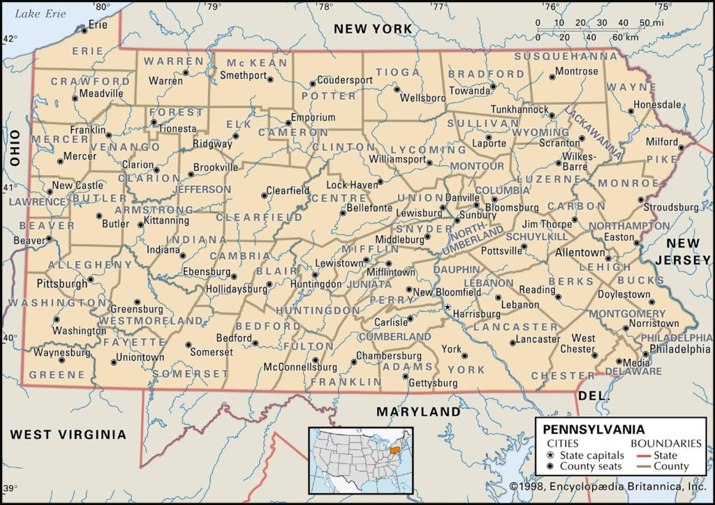 pa county map with towns, Pa County Map with Roads
