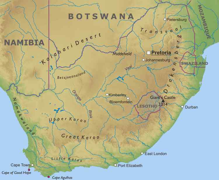 Physical Map of South Africa