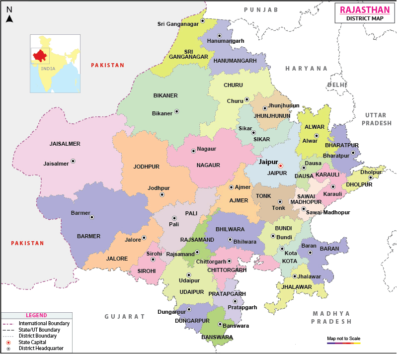 Printable Map of Rajasthan