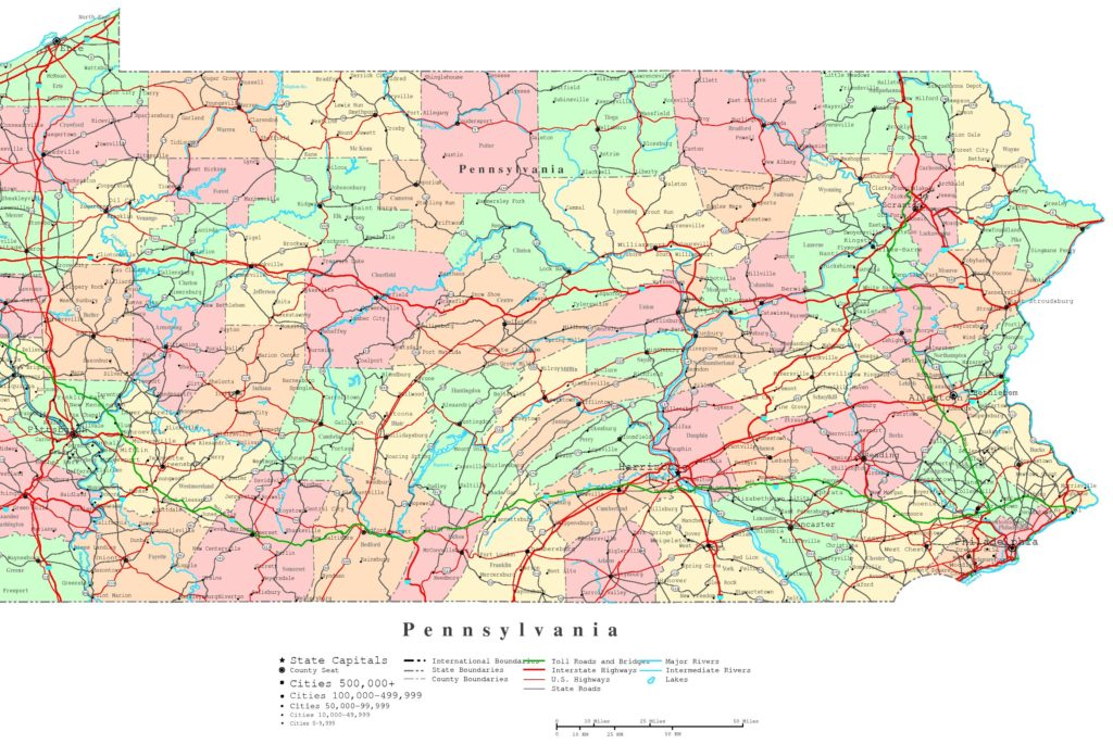 Road map of Pennsylvania with Cities, map of pennsylvania cities