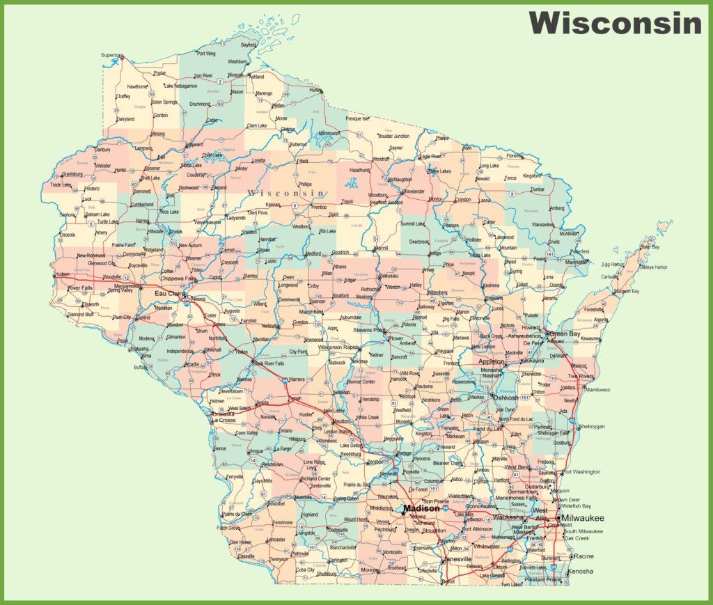 Wisconsin Cities Road Map