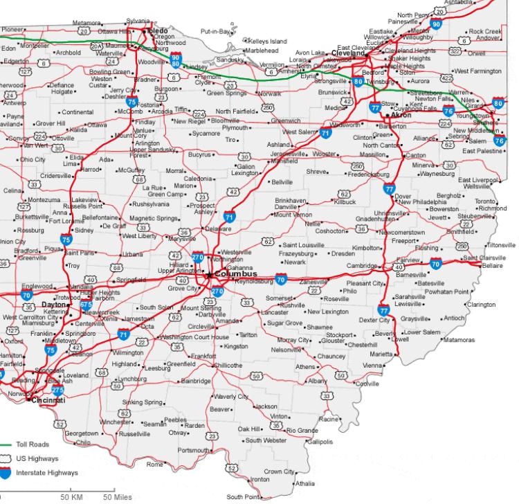 Road Map of Ohio