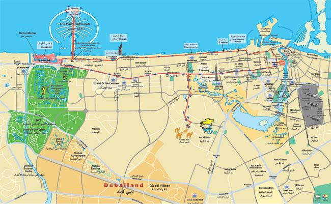 Road Map of Dubai City