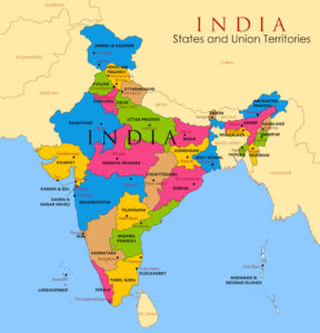 India Map with States for Kids