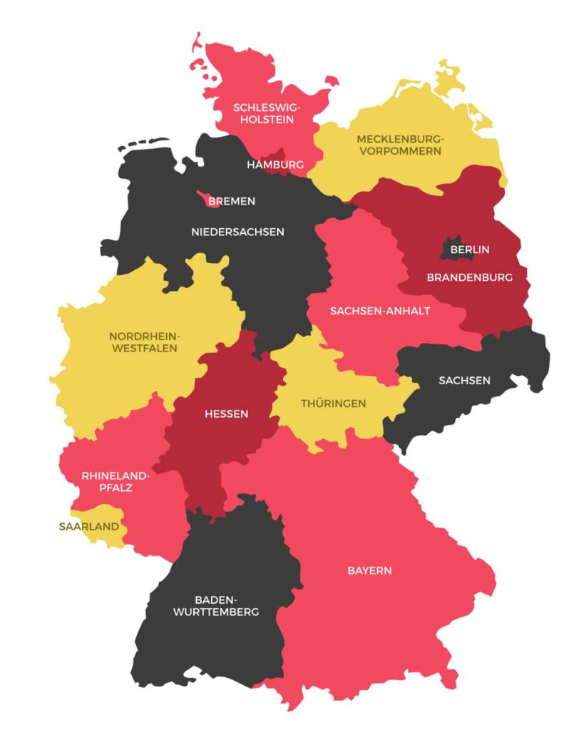 Map of Germany with States