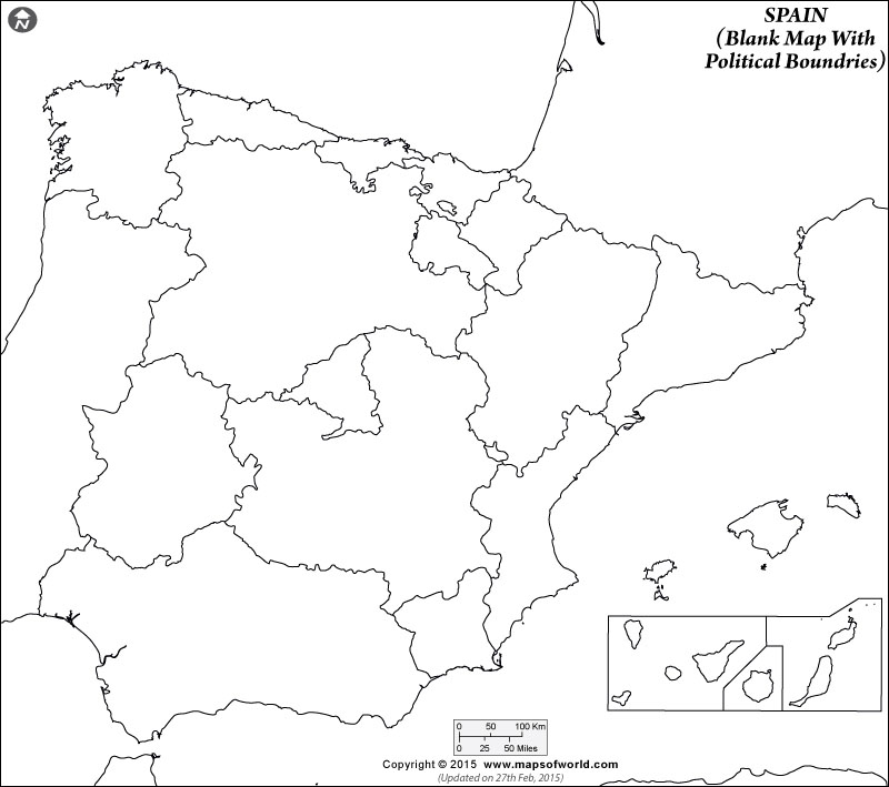 Blank Map of Spain Outline