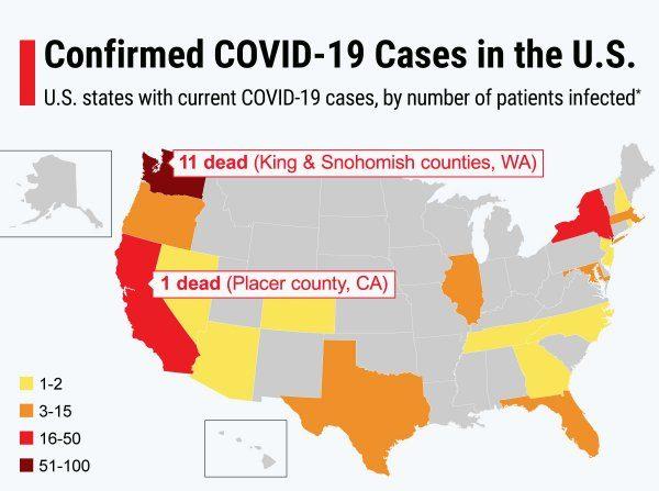 USA Map of Coronavirus (COVID-19)