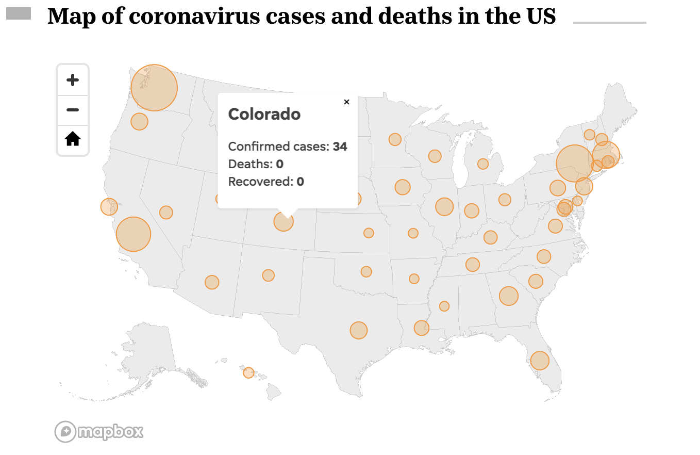 USA Map of Coronavirus