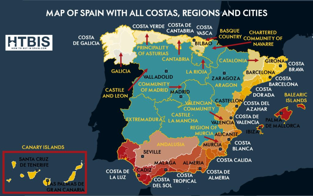 Detailed Map of Spain with Regions