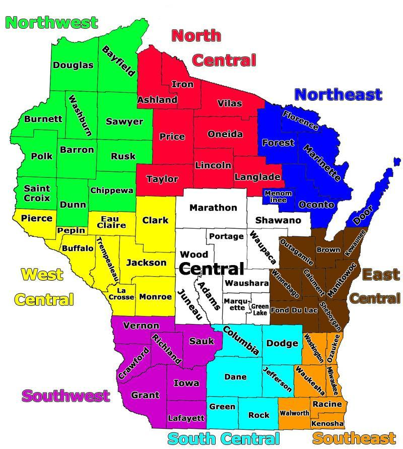 Labeled Map of Wisconsin