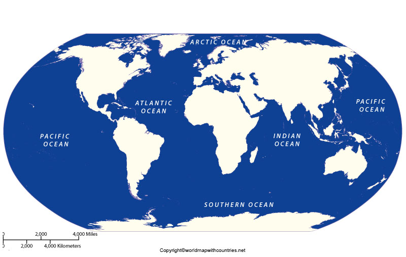 5 Oceans in the World Map