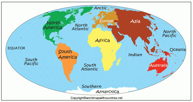 7 Continents and 5 Oceans on World Map