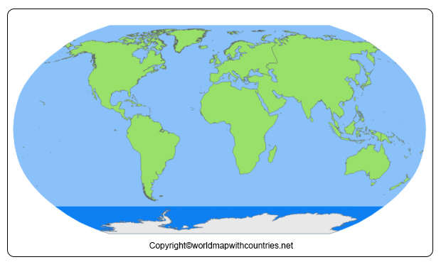 Blank Map of World Continents and Oceans