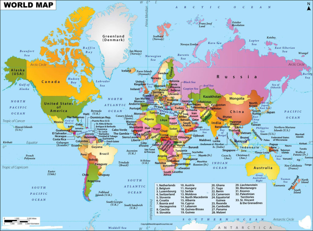 Printable Map of World Continents and Countries