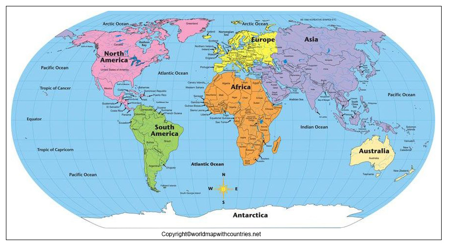 Printable Map of World with Continents and Oceans