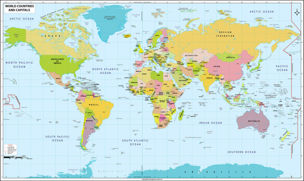 World Map with Countries and Capitals and Continents