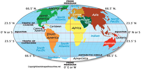 World Map with Equator and Tropic of Cancer