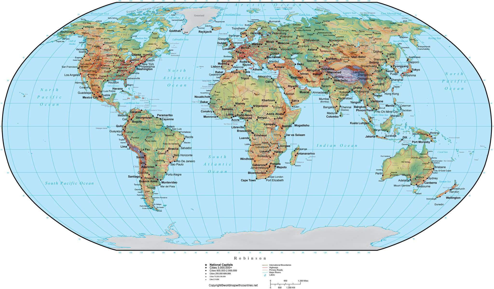 World Map with Coordinates and Countries