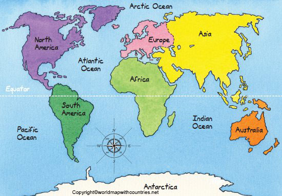 World Map with Equator and Continents