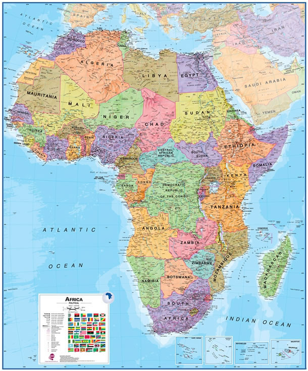 Labeled Africa Map with Countries