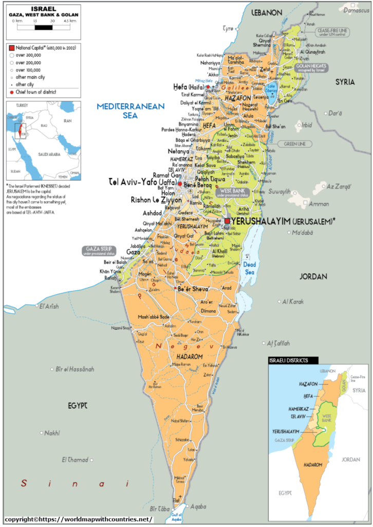 Israel map With State