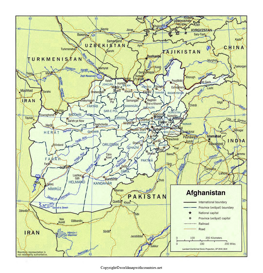 Afghanistan Map with States