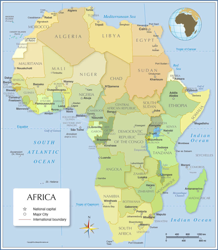 Political Map of Africa with Countries Labeled