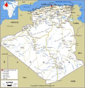 Printable Map of Algeria