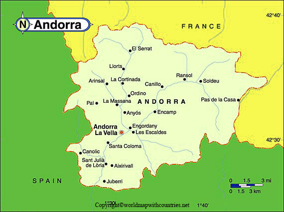 Andorra Map with States