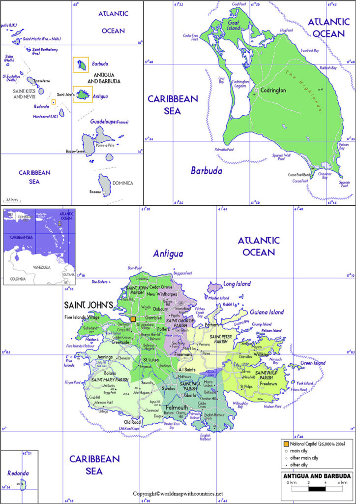 Antigua and Barbuda Map with States