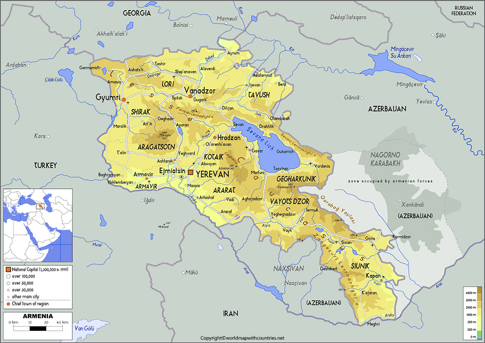 Armenia Map with States