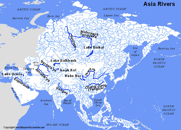 Asia Map rivers