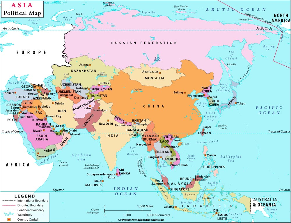 Map Of Asia Political
