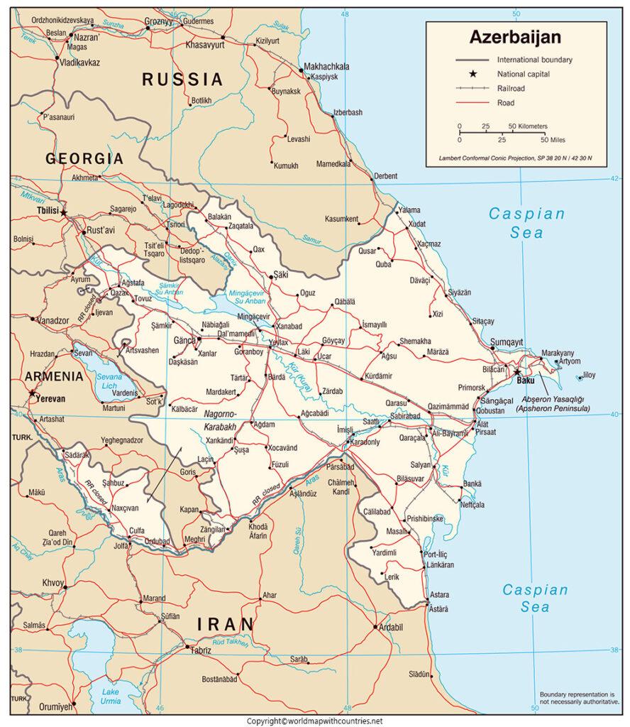 Azerbaijan Map with States
