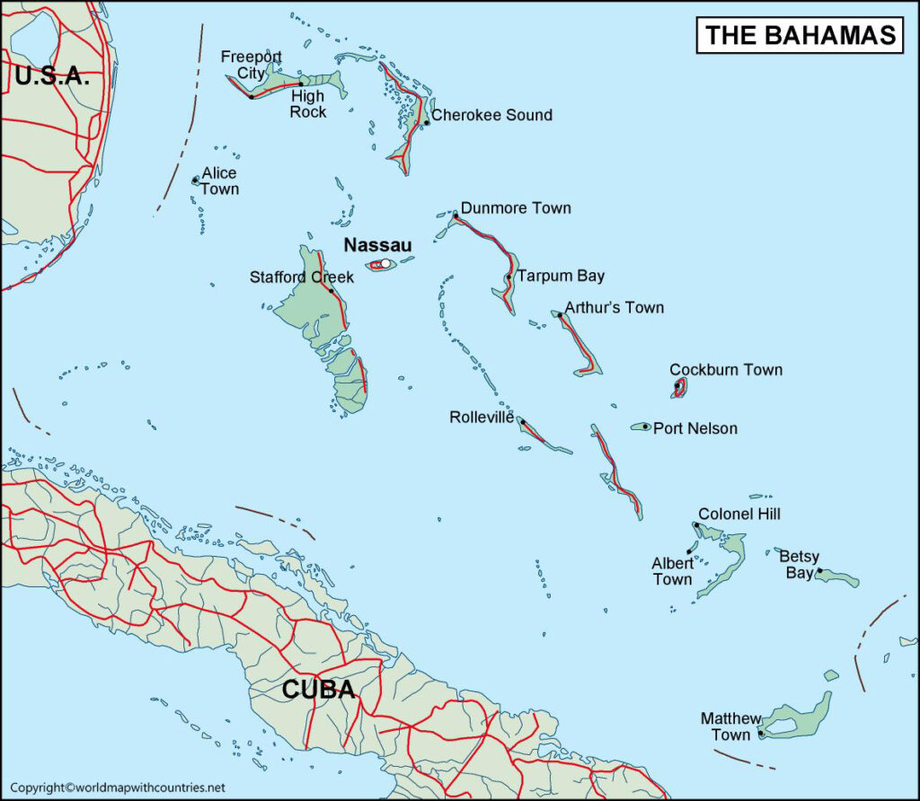 Bahamas Map with States