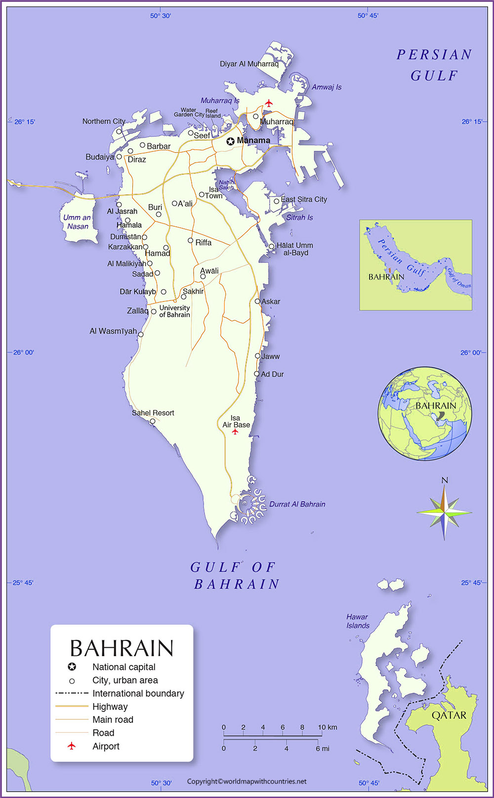 Bahrain Map with States