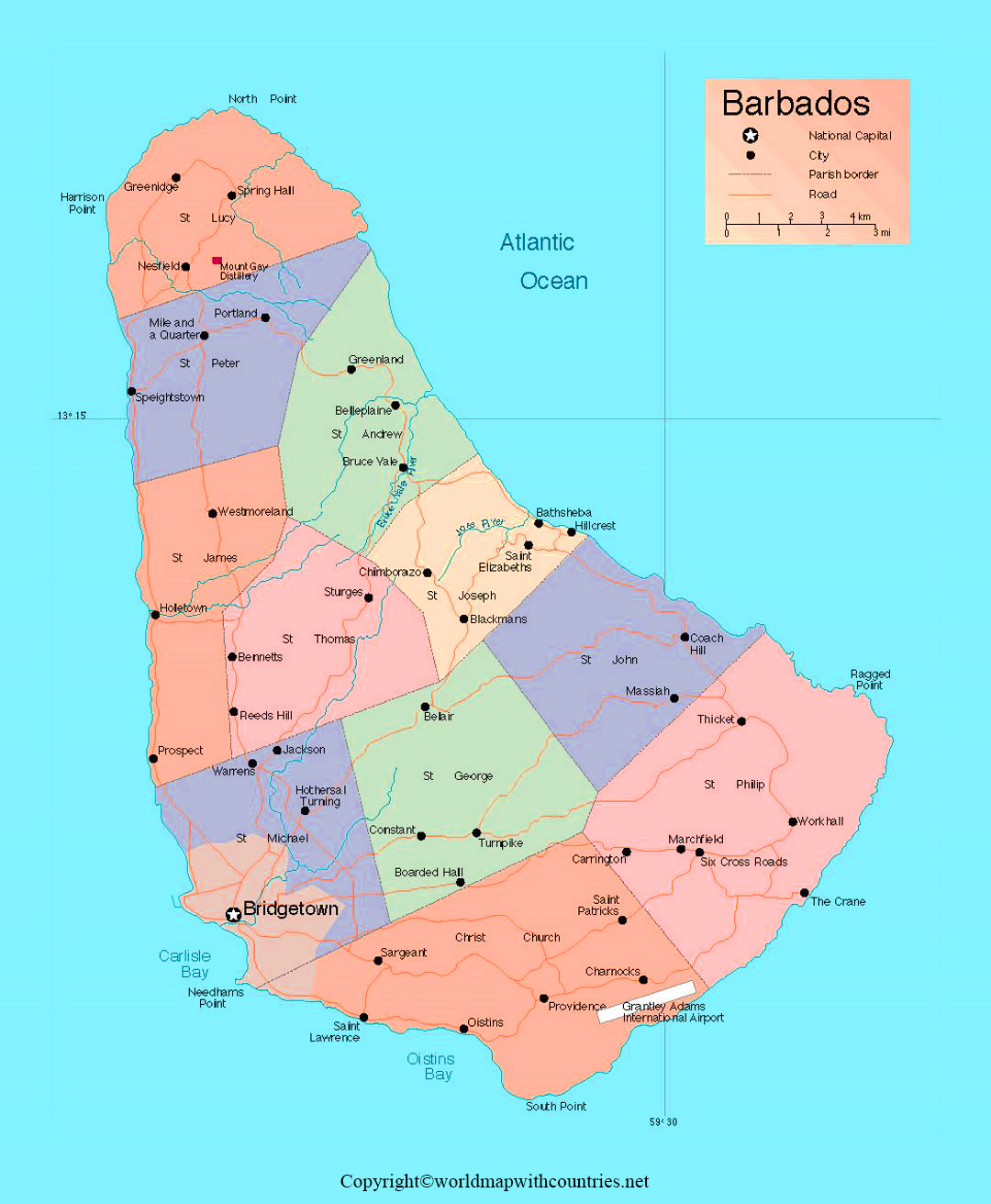 Barbados Map with States