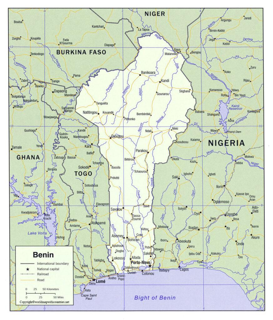 Benin Map with States