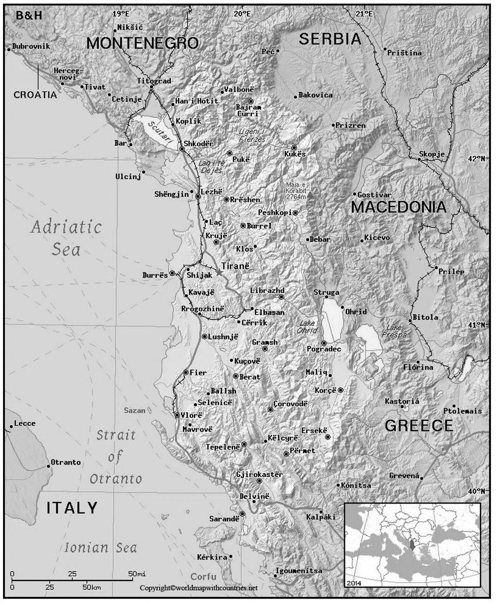 Blank Map of Albania