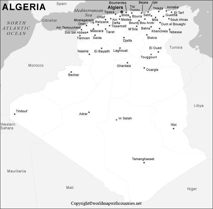 Blank Map of Algeria