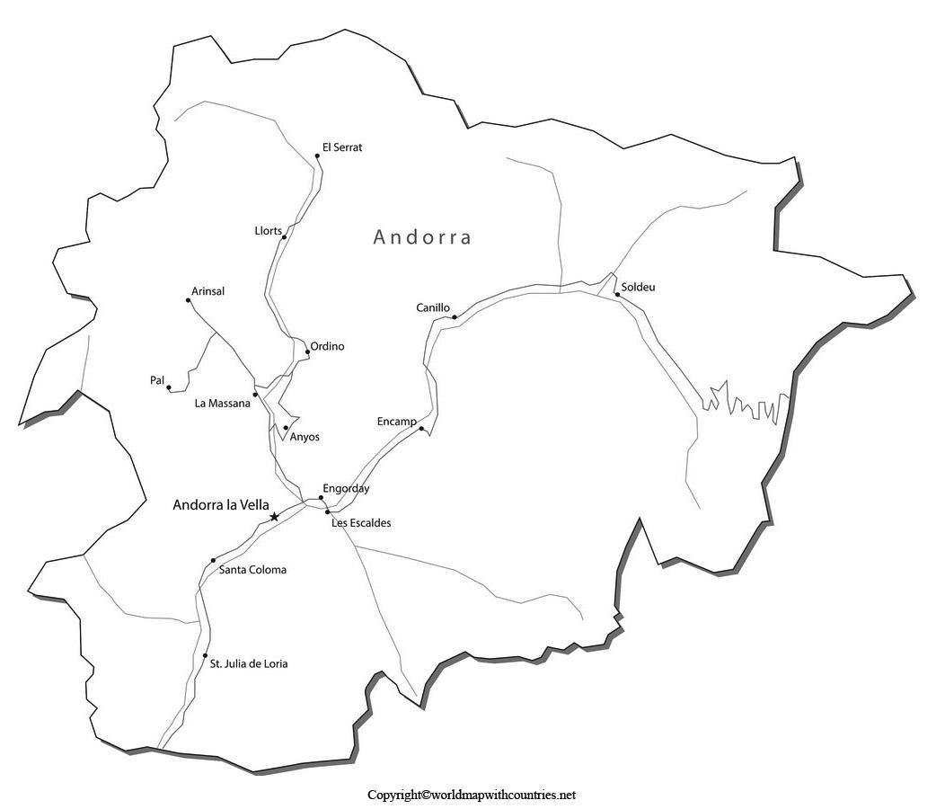 Blank Map of Andorra
