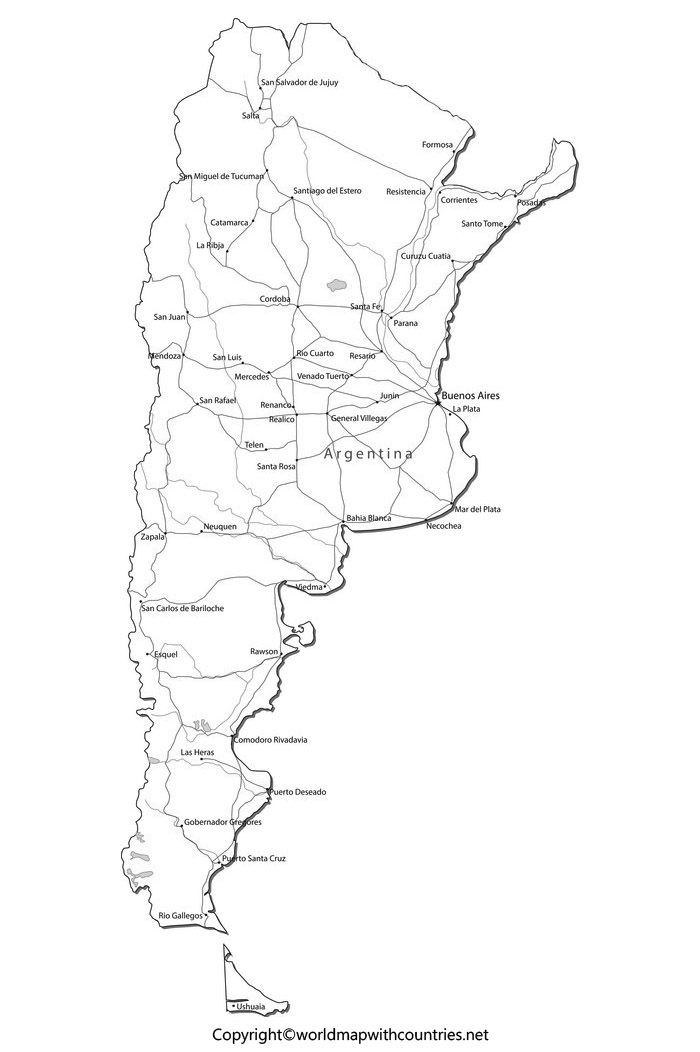 Blank Map of Argentina