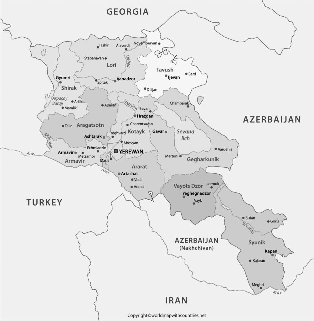 Blank Map of Armenia