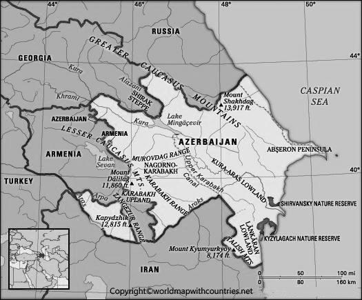 Blank Map of Azerbaijan