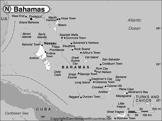 Blank Map of Bahamas