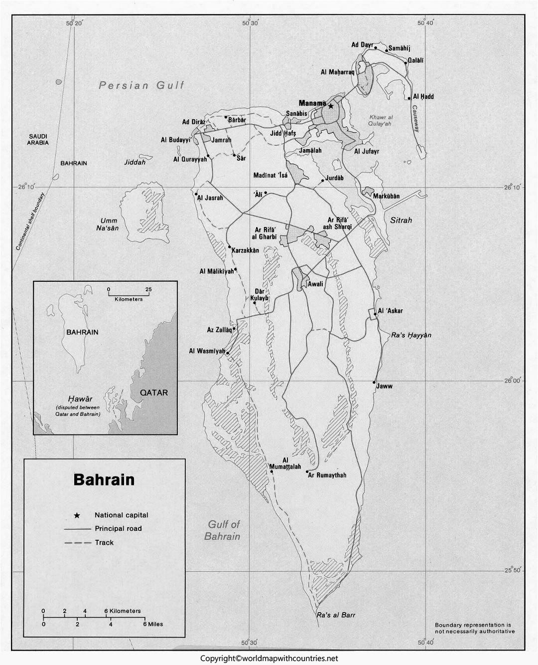 Blank Map of Bahrain